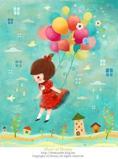 풍선소녀 #illust #illustration #character #artwok #picture #painting #digitalart #painter #animal #girl #balloon#일러스트 #그림
