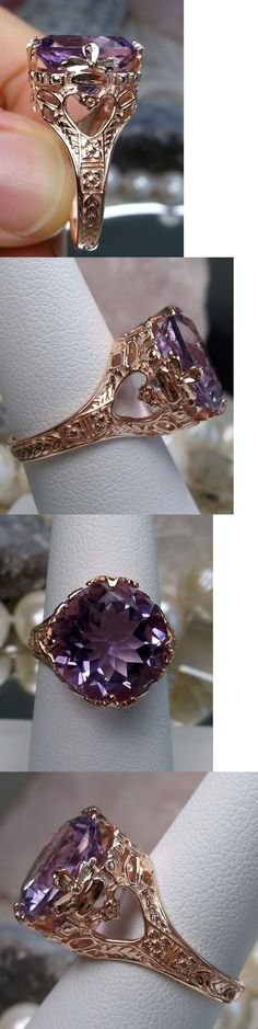 Rings 52603: Natural Amethyst 14K Rose Gold Victorian Floral Filigree Ring {Made To Order} BUY IT NOW ONLY: $379.99