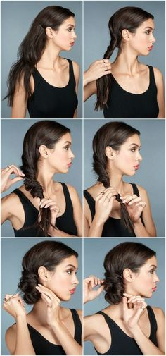 Festive updos with instructions - 6 styling ideas perfect for New Year& Eve - Birgit Wagner - - Festliche Hochsteckfrisuren mit Anleitung – 6 Styling-Ideen perfekt zu Silvester side updo instructions imitate new years eve - Lazy Hairstyles, Trending Hairstyles, Braided Hairstyles, Stylish Hairstyles, Glamorous Hairstyles, Updos Hairstyle, Teenage Hairstyles, Hairdos, Medium Hair Styles