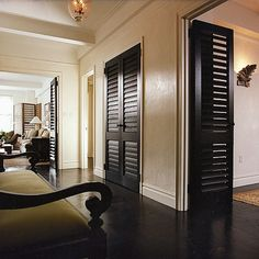 """british Colonial"" Design Ideas, Pictures, Remodel, and Decor. I enjoy the dark doors, great for airflow, too."