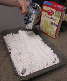 24 oz. frozen strawberries, 1 box white cake mix, 1 can sierra mist, put strawberries in dish then powder cake mix on top then slowly pour soda on to p then bake at 350 for 40-45 mnutes
