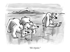 He's bipolar. - New Yorker Cartoon Premium Giclee Print by Lee Lorenz at Art.com