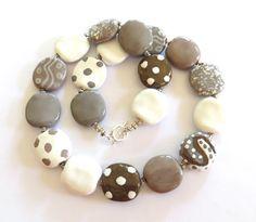Ceramic Jewelry Kazuri Bead Necklace by lizbriggsdesigns on Etsy,