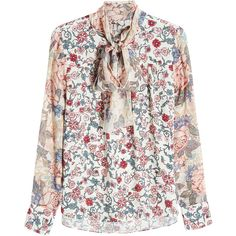 See by Chloé Printed Blouse (1.100 RON) ❤ liked on Polyvore featuring tops, blouses, florals, boho blouse, flower print blouse, floral blouse, bohemian blouses and white blouse