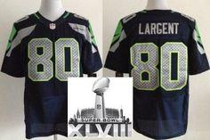 Nike Seattle Seahawks 80 Steve Largent Blue Elite 2014 Super Bowl XLVIII NFL Jerseys
