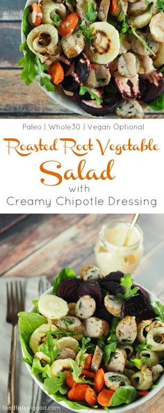 This Roasted Root Vegetable Salad with Creamy Dairy-Free Chipotle Dressing is sweet, savory, and satisfying. Best Gluten Free Recipes, Whole 30 Recipes, Paleo Recipes, Real Food Recipes, Dip Recipes, Lunch Recipes, Dinner Recipes, Vegetable Salad, Vegetable Recipes
