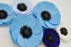 6 papel gigante flores grandes amapolas/de la boda arco decoración flores de papel mesa decoración flor azul amapola / pared flores