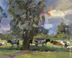 """Daily Paintworks - """"Painting Cows on a Hot Summer's Day"""" - Original Fine Art for…"""