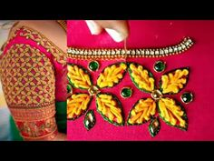 Home improvement french knot aari work blouse french knot neck Magam Work Designs, Hand Work Design, Hand Work Blouse Design, Hand Designs, Peacock Embroidery Designs, Bead Embroidery Patterns, Aari Embroidery, Embroidery Stitches, Cutwork Blouse Designs