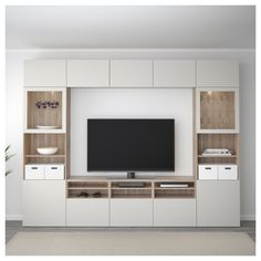 IKEA - BESTÅ TV storage combination/glass doors walnut effect light Living Room Tv Unit, Ikea Living Room, Storage Ideas Living Room, Living Room Sets, Ikea Tv Wall Unit, Built In Tv Wall Unit, Ikea Wall, Ikea Ikea, Tv Wanddekor