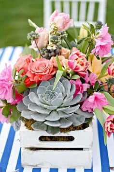 Party flowers at Kentucky Derby Garden Party via Kara's Party Ideas | karaspartyideas.com