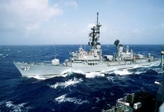 My ship.  USS Conyngham DDG-17.  Adams class destroyer (guided missile).  I served aboard her from 1985-89.  She caught fire and burned at sea in 1990.  The crew managed to get her back to port but she was decommissioned immediately, sold for scrap and torn down in 1994.  In my mind's eye, however, she's still out there sailing.