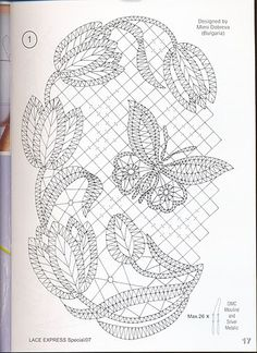 Lace Express et enkelt motiv til rejsekufferten Lace Express, tulips and butterfly chart I think I'd like this better without all the background mesh. It would be pretty mounted and framed. for carrickmacross lace Form Crochet, Crochet Motif, Irish Crochet, Crochet Lace, Crochet Patterns, Lace Embroidery, Embroidery Patterns, Romanian Lace, Bobbin Lacemaking