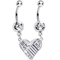 Clear Gem Holding Hands Best Friend Heart Dangle Belly Ring Set | Body Candy Body Jewelry #bodycandy