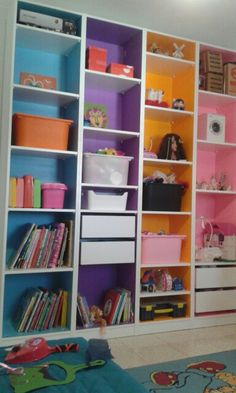 My daughter& new room. Made with 4 units of Ikea& Pax and colorful wal. Ikea Wardrobe Hack, Ikea Pax Hack, Pax Closet, Ikea Closet, Playroom Storage, Daughters Room, New Room, Kids Bedroom, Home