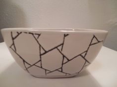 "Baum Bros. Arabesque Bowl White Black Retro Collection Embossed 3 1/2 "" Deep #BaumBros"