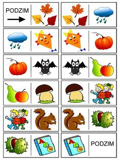 Pro Štípu: Podzimni domino Autumn Activities For Kids, Crafts For Kids, Month Weather, File Folder Activities, Play To Learn, Learning Games, Fall Crafts, Bingo, Montessori