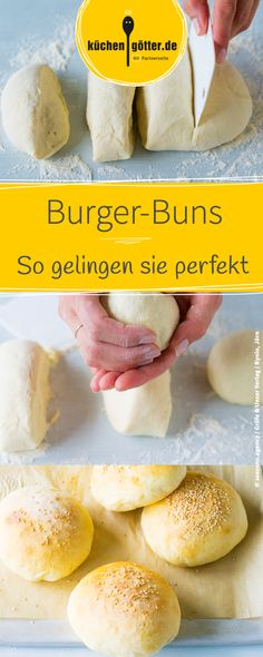 Burger-Brötchen selbst gemacht: von wegen wabbelig Make your own burger buns: We will show you a practical step-by-step guide with which you can easily make your own burger buns. Sandwich Vegan, Vegan Burgers, Easy Homemade Burgers, Homemade Rolls, Make Your Own Burger, Healthy Burger Recipes, Pizza Recipes, Burger Co, Burger Party