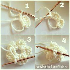 Big and Small Crochet Flower -       ♪ ♪ ... #inspiration_crochet #diy