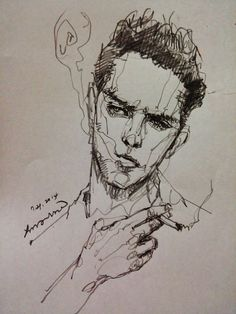 areasdrawing: Always great model Smoking man. Life Drawing, Drawing Sketches, Art Drawings, Pencil Drawings, Scribble Art, Contour Drawing, Sketch Painting, Portrait Art, Portraits
