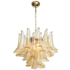 Mazzega Petal Chandelier | From a unique collection of antique and modern chandeliers and pendants  at https://www.1stdibs.com/furniture/lighting/chandeliers-pendant-lights/