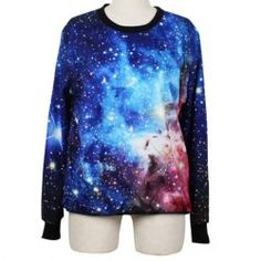 Colorful Galaxy Long Sleeves Round Collar Polyester Casual Style Women's Sweatshirt