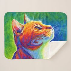 Psychedelic Rainbow Tabby Cat Sherpa Blanket pretty redhead girl, redhead kids, character inspiration redhead #redheadlove #redheadsforlife #redheadsunite, back to school, aesthetic wallpaper, y2k fashion Cat Bath, Cat Tattoo, White Elephant Gifts, Cat Toys, Beautiful Artwork, Color Splash, Psychedelic, Funny Cats, Original Artwork