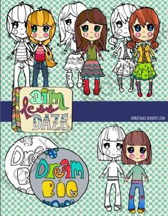 Aimster Girls: Dream Big--kid clip art from Aimless Daze Clipart on TeachersNotebook.com -  (10 pages)  - Aimster kids are always aiming fir something! These aimster girls are aiming to dream big!  300 dpi, PNG files 10 images total 4 aimster girls lined/black and white 4 aimster girls color 1 dream big lined/black and white 1 dream big color  PLUS 2 SURPRISE
