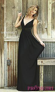 00ae5612b3 Empire Sherri Hill 5206 V-Neck Black Ruched Bodice Party Dress Discount