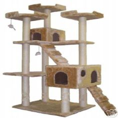 Go Pet has brought the fun home to your pet with this jungle gym cat tree furniture. Durability comes from pressed wood for long-lasting use, and 15 levels of beige faux fur and sisal posts will keep your cat entertained for hours. Tools are included.