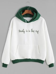 Color Block Slogan Embroidered Hooded Sweatshirt - Sweat Shirt - Ideas of Sweat Shirt - Color Block Slogan Embroidered Hooded Sweatshirt White Hooded Sweatshirt, Pullover Hoodie, Sweater Hoodie, White Hoodie, Hoody, Cute Sweatshirts, Hooded Sweatshirts, Fashion Sweatshirts, Sweet Shirt