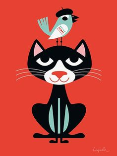 Cat on red