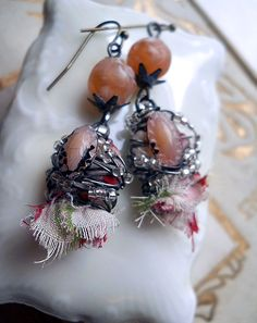 Assemblage Earrings Vintage Buttons and Beads by shipwreckdandy