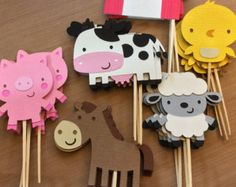 Cupcake toppers for farm animals, farm / farm themed party - . - Cupcake toppers for farm animals, farm / farm theme party – - Party Animals, Farm Animal Party, Farm Animal Birthday, Barnyard Party, Farm Birthday, 2nd Birthday Parties, Birthday Kids, Kids Animals, Birthday Cake