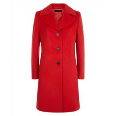 Jaeger Jaeger Wool Three-Button Coat ($530) ❤ liked on Polyvore featuring outerwear, coats, wool coat, belted wool coat, red wool coat, red coat and belted coat