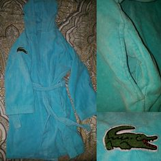 """Lacoste Bathrobe - Blue Lacoste short Bathrobe with long sleeves and hood. One size, but would recommend for someone under 5'6"""" because it's kinda short on me personally. Lacoste Intimates & Sleepwear Robes"""