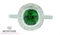 Tsavorite garnet with diamond set halo and band in white gold   Brisbane Jewellery   Coloured Gem Jewellery Brisbane   MONTASH Jewellery Design   www.montash.com.au