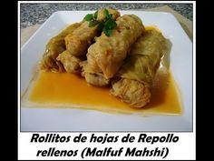 Rollitos de hojas de Repollo rellenos - Malfuf Mahshi - receta español - YouTube Cooking Recipes, Healthy Recipes, Daniel Fast, Empanadas, Dinner Recipes, Tasty, Meat, Chicken, Facebook