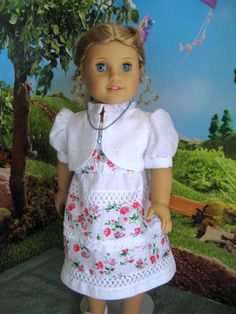 New summer clothes for your doll!!---Sundress, Lined Eyelet Jacket, Slip and Necklace Outfit for an 18 Inch Doll