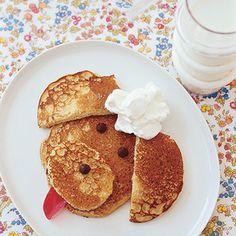 Peanut Butter Poodle Pancakes|  http://www.rachaelraymag.com/Recipes/rachael-ray-magazine-recipe-search/kid-recipes/peanut-butter-poodle-pancakes