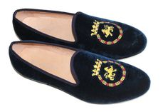 Men's Hand made Prince Albert Smoking Slipper Leather Velvet Loafer Navy Kings Crest