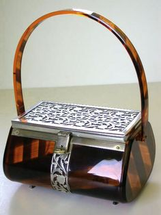 Vintage Tortoise Lucite Purse with Silver Filigree Trim -- attributable to Tyrolean.