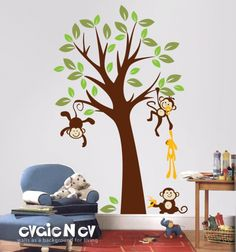 Baby Nursery Wall Decals – Tree with Monkeys – evgieNev