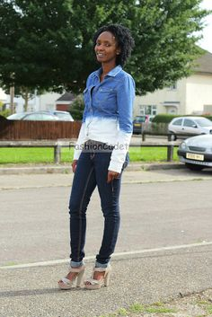 Double denim: acid wash denim shirt, skinny jeans, grey sandals