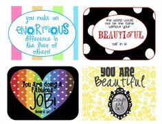 It's Random Acts of Kindness Week! Here are some happy notes to print… Kindness Projects, Happy Signs, Lunch Box Notes, Lunch Boxes, Staff Appreciation, Neighbor Gifts, Quotes For Kids, You Are Beautiful, Making Ideas