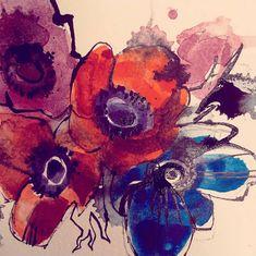 ORGANIC - ANEMONECORONARIA  #watercolor #flowers Illustrations, Watercolor Flowers, Sketches, Organic, Drawings, Painting, Art, Art Background, Illustration