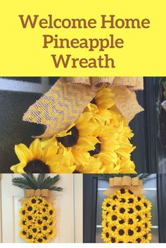Beautiful sunflower pineapple styled wreath. Guaranteed to brighten any doorway. #ad #sunflower #wreath