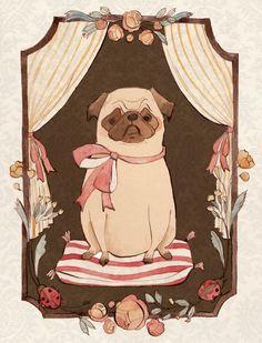 Pug on a pillow