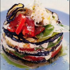 italian food~Eggplant with Mozzarella,Tomatoes  and Basil
