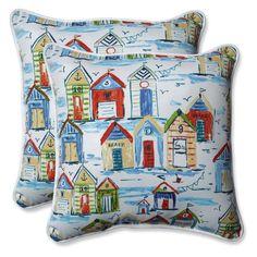 Pillow Perfect Outdoor/Indoor Baycove Cabana 18.5 in. Throw Pillow - Set of 2 - 601755